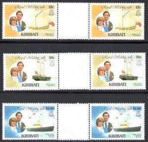 Kiribati - 1981 Royal Wedding Gutter Pair Set MNH** SG 149,151,153