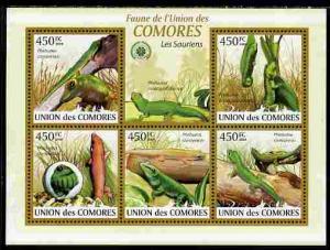 Comoro Islands MNH S/S Lizards Reptiles 2009 5 Stamps