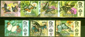 Johore 1971 Butterflies Set of 7 SG175-181 Very Fine Used