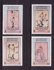 Caicos Is.-Sc#32-5-unused NH set-Raphael drawings-Paintings-1983-