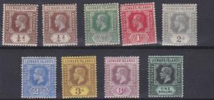 LEEWARD ISLAND 1912 - 22   S G  46 - 54  VARIOUS VALUES TO 1/-  MH