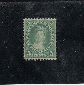NEW BRUNSWICK (MK5324) # 8  VF-USED  5cts  1860 QUEEN VICTORIA / YEL-GRN CV $30