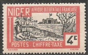 Niger Postage Due Stamp - Scott #J10/D2 4c Vermilioin & Black OG Mint/LH 1927