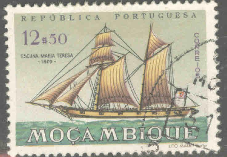 Mozambique Scott 451 Used Sailing ship stamp