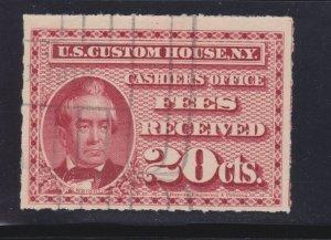 U.S. RL1C 20c Custom Fee Stamp Used Roulette 7 F-VF+ SCV $1,500
