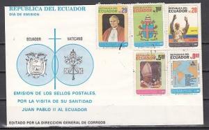 Ecuador, Scott cat. 1066-1070. Pope John Paul II issue. First day cover. ^