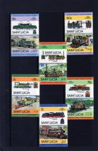 Saint Lucia 1984 TRAINS & LOCOMOTIVES 6 Pairs (12v) Perforated Mint (NH)