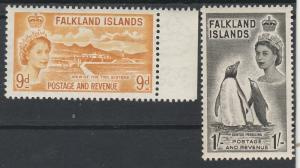 FALKLAND ISLANDS 1955 QEII PICTORIAL 9D AND 1/- MNH **