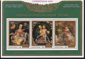 COOK IS 1986 Visit of the Pope - overprint on Christmas souvenir sheet MNH..4957