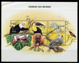 ANGOLA ANIMALS OF THE WORLD SHEET III  MINT NH