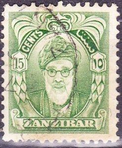ZANZIBAR 1952 15c Yellow-Green SG341a Fine Used