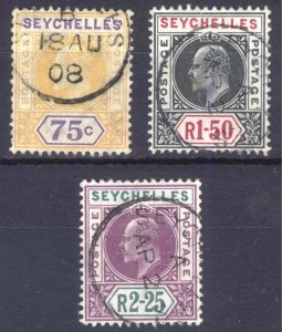 Seychelles 1906 75c-R2.25 Key Plate SG 68-70 Scott 60-62 VFU Cat £180($225)