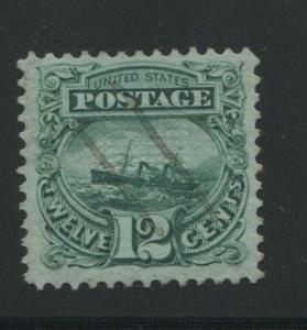 1869 US Stamp #117 12c Used Very Fine Pen Cancel Catalogue Value $200 Certified