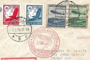 Doyle's_Stamps: Historic 1936 Cacheted Hindenburg Zeppelin Cover