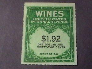 U.S.# RE152-MINT/NEVER HINGED---WINE STAMP---1942