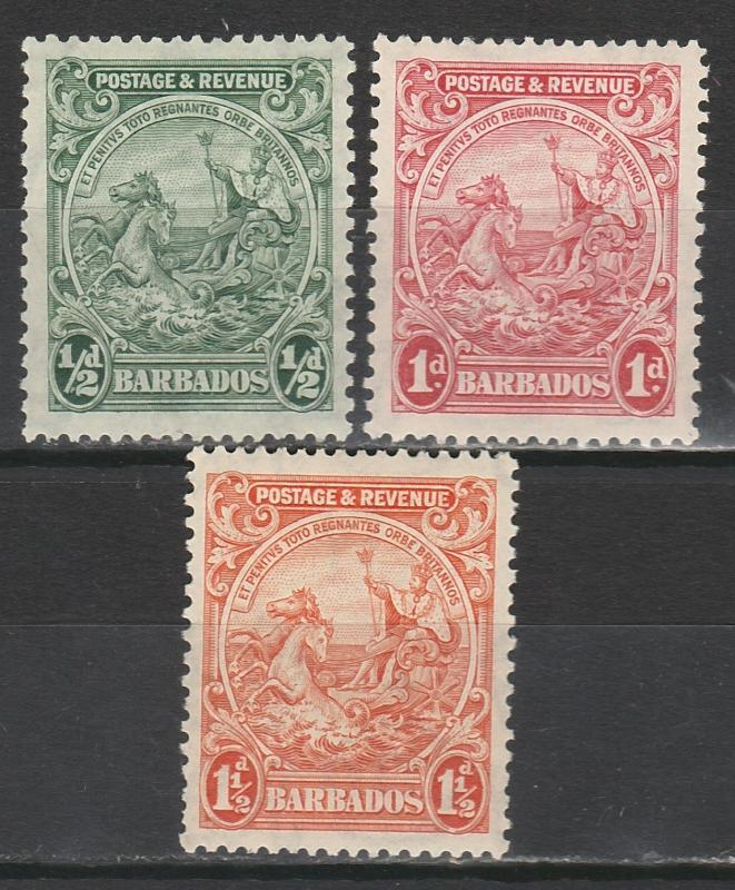 BARBADOS 1925 KGV SEAHORSES 1/2D 1D AND 11/2D PERF 13.5 X 12.5