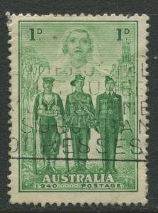 Australia - Scott 184 - Australia in WWII -1940 - Used - Single 1p Stamp