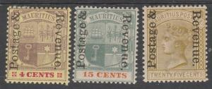 MAURITIUS 1902 QV ARMS POSTAGE AND REVENUE OVEPRINTED 4C 15C AND 25C