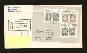 Canada 756a on Postmarked Edmonton Alberta Registered Cover Used