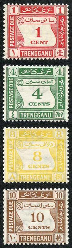 Trengganu SG D1/4 1937 KGVI Postage Due Set Wmk Mult Script CA M/M