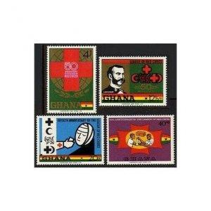 Ghana 378-381,MNH.Mi 389-392. Red Cross Society,50,1970.Henri Dunant.Lion & Sun.