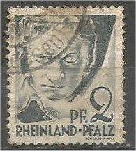 RHINE PALATINATE, 1947, used 2pf, Beethoven, Scott 6N1