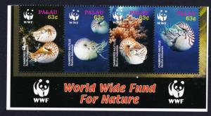 Palau WWF Chambered Nautilus Bottom Strip of 4v with WWF Logo SG#2153-2156