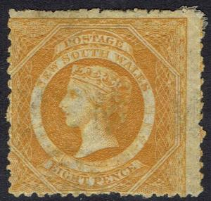 NEW SOUTH WALES 1882 QV DIADEM 8D WMK CROWN/NSW SG W40 PERF 12