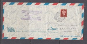 NETHERLANDS, 1949 KLM First Flight Airmail cover to Suriname.