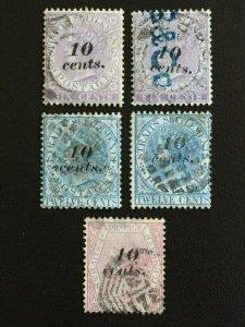 MALAYA 1880 Straits Settlements QV 10c overprints 5V USED SG#44-46 M2368