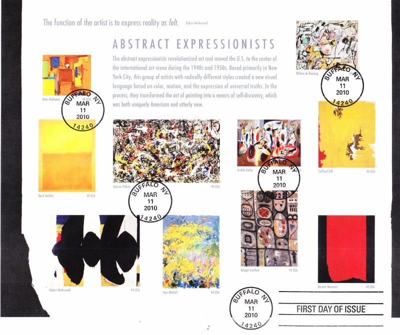 Abstract Expressionists Art 2010 Scott 4444a on Large FDC