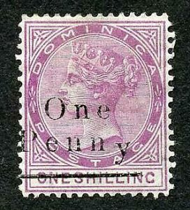 Dominica SG19 1d on 1/- Magenta Fresh M/M Cat 24 pounds