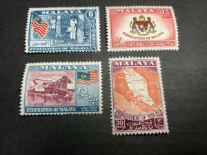 Malaya -- Federation of Malaya Scott 80-83 Mint OG CV $8