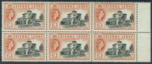 SIERRA LEONE 1956 QEII GOVERNMENT HOUSE 1 POUND MNH ** BLOCK