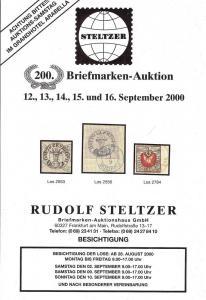 Steltzer: Sale # 200  -  200. Briefmarken-Auktion, Steltz...