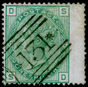 SG150, 1s green plate 12, USED. Cat £150. SD