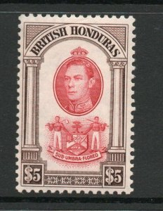 British Honduras George VI 42 SG161 $5 lightly hinged. Cat. £50.