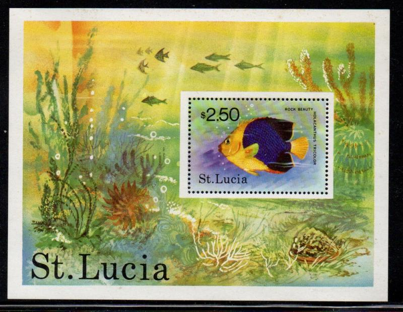 St Lucia Sc 447 1978 $2.50 Fish stamp sheet mint NH