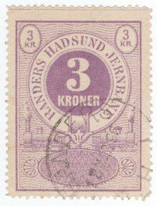 (I.B) Denmark Railway : Randers Hadsund Jernbane - Parcel Stamp 3k