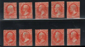 USA #O15P2 - #O24P2 Fine Small Die Proofs Without Gum Set Of Ten