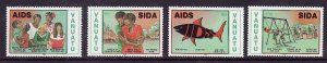 Vanuatu-Sc#547-50-unused NH set-Fight Against Aids-1991-