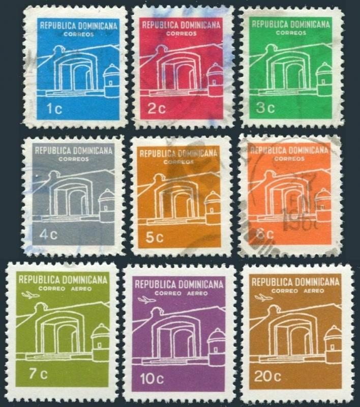 Dominican Rep 627-632 used,C149-C151 hinged,MNH.Mi 884-892. National Altar,1967.