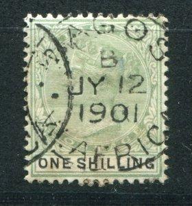 QV NIGERIA LAGOS 1887-1902 ISSUES 1/- SG 38 FINE USED (2)
