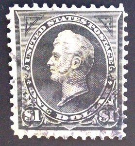 Scott #276A - $1 Perry - Black Type II Dbl Line WM, 1896 VF Used