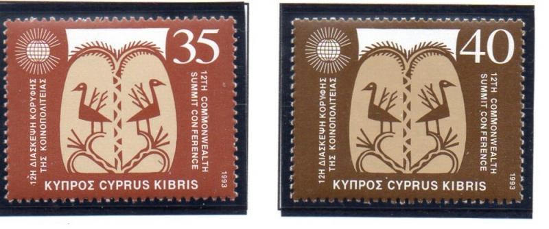 Cyprus Sc 822-3 1993 Commonwealth Summit stamp set mint NH