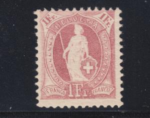 Switzerland Sc 87b MLH. 1901 1fr claret Helvetia, perf 11½x12.
