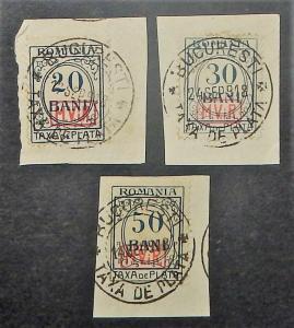Romania 3NJ5-7. 1918 20b-50b Postage Due, used