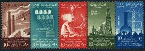 Egypt 447-451,452, MNH. Mi UAR 14-18, 19 Bl.1. Revolution, 6th Ann. Industries.
