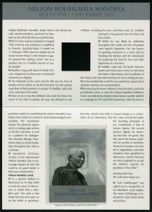 HERRICKSTAMP NEW ISSUES SOUTH AFRICA Nelson Mandela Memorial S/S in Folder