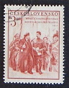 1951, Czechoslovak-Soviet Friendship, Lenin, 3.00 Kc, SG #665 (2213-T)